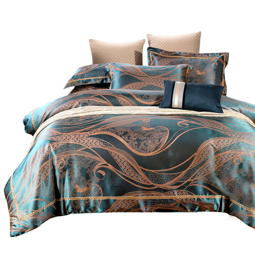 Svetanya Silk Cotton Bedlinen Queen King Size Bedding Sets Jacquard duvet cover+flat sheet+pillowcases 4pcs