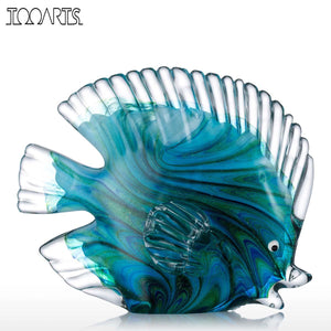 Tooarts Blue Glass Statuettes Tropical Fish Figurine Home Decor Art Animal Artificial Craft Gift For Home Decoration Accessories