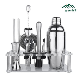 Greenhill Premium Barware Set, 13 Pieces including Shaker, Jigger, Ice Tong, Strainer, Pourer, Muddler, Straw, Spoon &  Holder