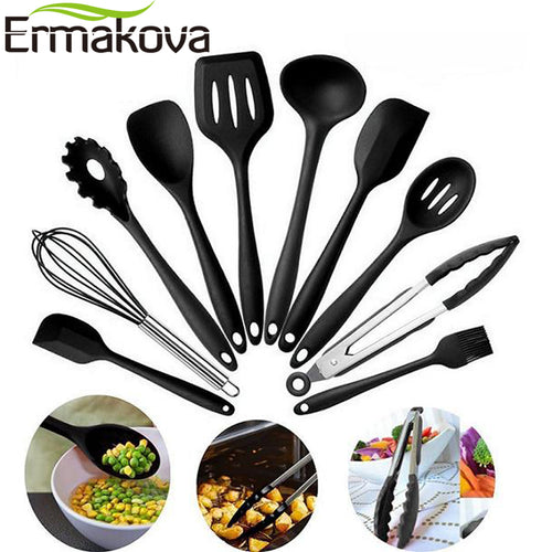 ERMAKOVA 10 Pcs/Set Silicone Kitchen Utensils Set Non-Stick Silicone Tong Spoon Spatula Pasta Server Whisk Ladle Strainer Black