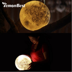 3D RGB Print LED Moon Light, Magical Night Light Desk Lamp USB Rechargeable Light Multi-color(3 Light Colors Stepless) Fit for Home Decoration Personality Creative Lunar Lamp For Home, Party, Shopping Mall, Restaurants