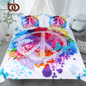 BeddingOutlet Watercolor Butterfly Bedding Set Colorful Printed Quilt Cover With Pillowcases Peace Design Bed Set 3-Piece
