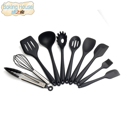 10Pcs/Set Household Kitchen Silicone Cooking Utensil Set High Temperature Resistant Kitchen Cooking Tools