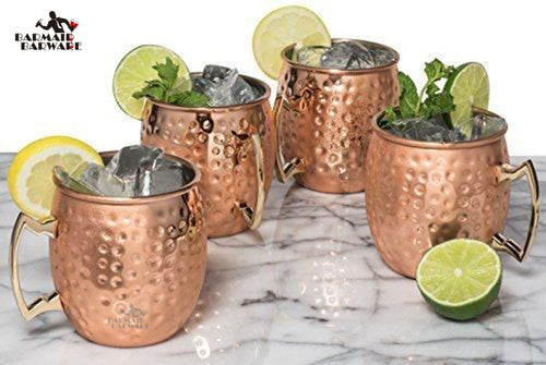 4 Pieces 550ml 18 Ounces Hammered Copper Plated Moscow Mule Mug Beer Cup Coffee Cup Mug Copper Plated