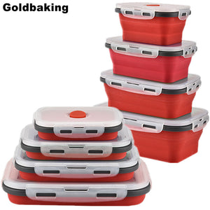 Goldbaking Silicone Lunch Box Collapsible Food Container BPA Free Food Collapsible Storage Container Microwave Freezer Safe
