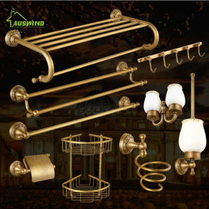 Antique Bronze Carved Brushed Bathroom Hardware Sets Wall Mounted Bathroom Products Brass Towel Ring Bathroom Accessories Set HQ