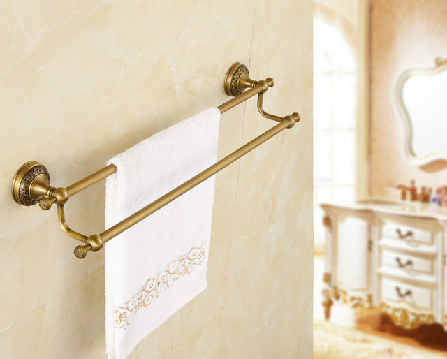 wall mounted bathroom accessories set.  Antique Bronze Carved Brushed Bathroom Hardware Sets Wall Mounted Products Brass Towel Ring Accessories