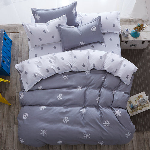 luxury Home textiles bedclothes snowflake Stripe christmas Cotton Bedding set bed linen+duvet cover+pillowcase housse de couette