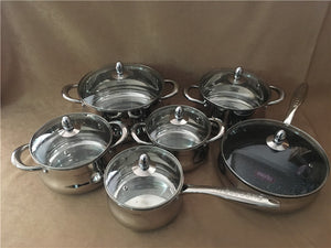 Cooking Tools 12pcs 18/10 S.S Cookware Set Pan Set and Non-stick Frypan