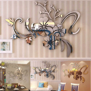 Hot! Elegant 3D Mirror Floral DIY Art Removable Wall Sticker Acrylic Mural Decal Fashion home decoration accessories 40*60cm XSQ