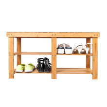 90*28*45.5cm Portable Flat Bamboo Splint Shoes Stool with Storage Wood Color