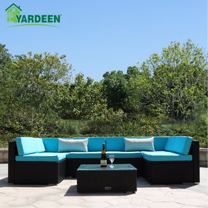 Yardeen 7 Pieces Patio PE Rattan Garden Sofa Set Backyard Furniture Kit Indoor and Outdoor With 2 Bolster Pillows and Tea Table