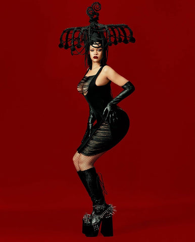 Rihanna wore Handsome Stockholm gloves; Essentials Extra Long Black gloves in the cover story of Dazed Magazine