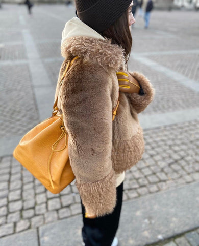 Tina Lundin wearing Statement Camel by Handsome Stockholm