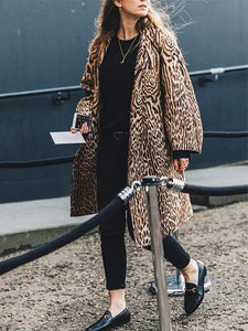 Elegant Stylish Loose Leopard Print Long Sleeve Coat Cardigan