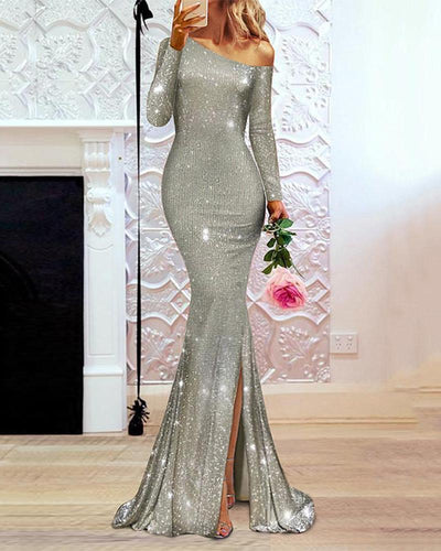 Fashion Sexy Sequin Off Shoulder Evening Dress