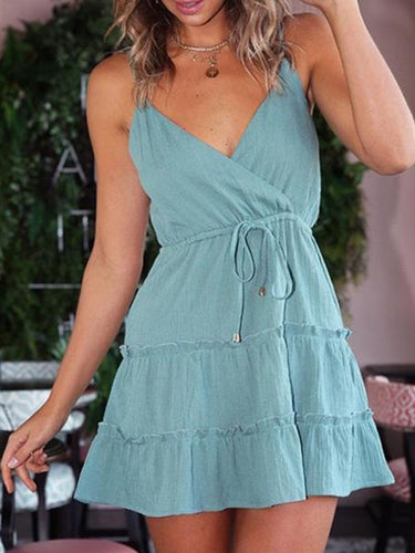 Sexy Deep V Collar Plain Belted Split Joint Vacation Dress