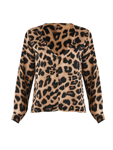 Leisure Sexy Leopard Pattern V Collar Long Sleeve