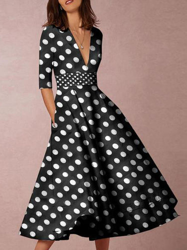 V-Neck  Polka Dot Printed Skater Dresses