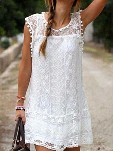 Round Neck  Tassel  Lace Plain Casual Dresses