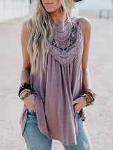 Casual Round Neck Sleeveless Lace Top
