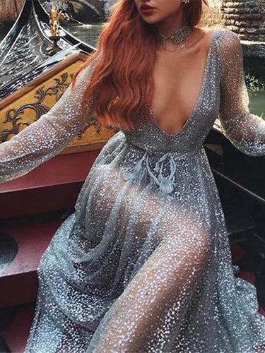 Sequined Sexy Long Sleeve Dress