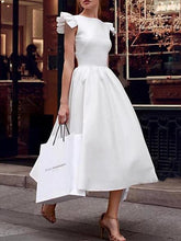 Popular White Ruffled Irregular Evening Dress