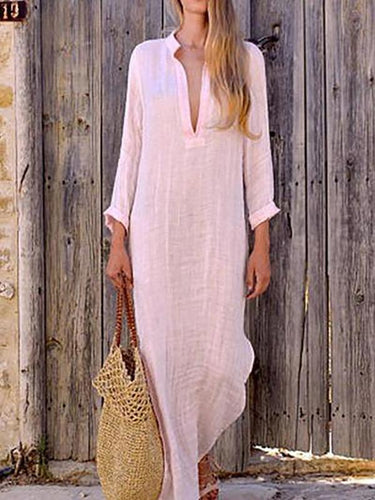 A Loose V-Collar Long-Sleeved Dress