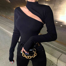 Sexy Street Style Turtleneck Hollow Knit Blouse