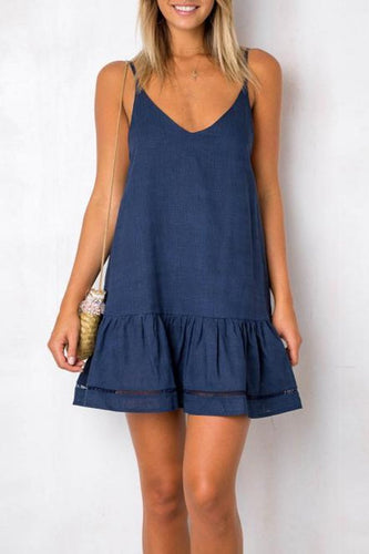 Sling Casual Mini Ruffled Short   Dress