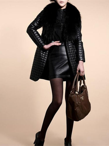 Fashion Warm Furry Collar Long Coat