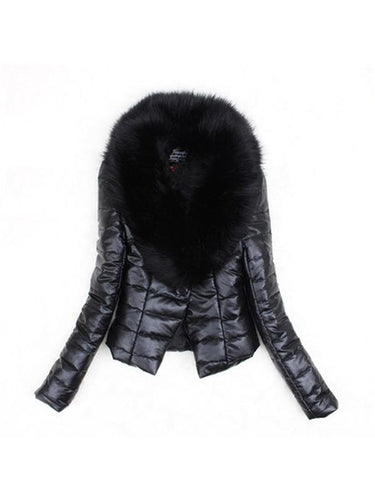 Fashion and thicken the fox fur cotton-padded jacket