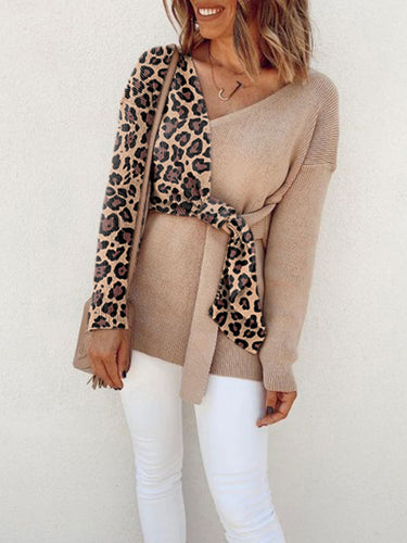 women Fashion Casual long sleeves v neck leopard print sweater