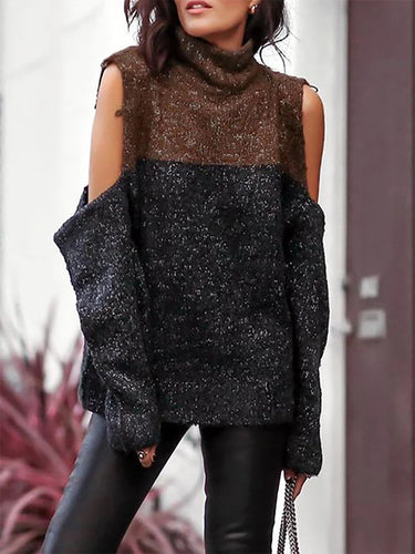 Stylish Off-The-Shoulder Turtleneck Long-Sleeved Splicing Sweater