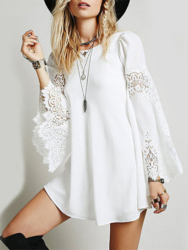Sexy Round Collar Lace Chiffon Stitching Loose Beachwear