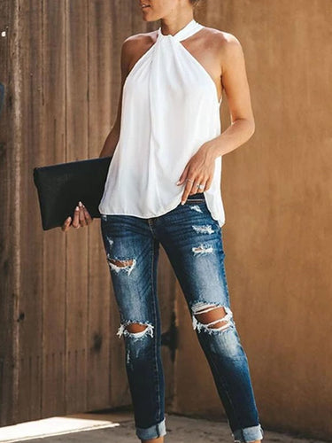 Sexy Solid Color Sleeveless Casual T-Shirt