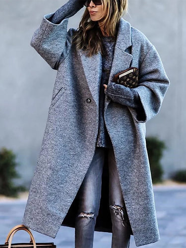 Women's Fashion Solid Color Lapel Woollen Coat