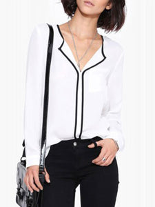 Fold Over Collar  Contrast Trim  Plain  Blouses