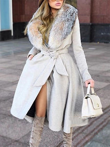Fashion Fur Collar Grey Belt Coat