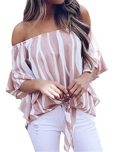 Zebra a word shoulder horn sleeve chiffon shirt