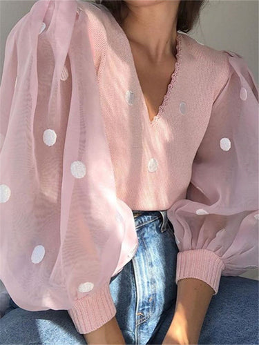 Fashion women's V-neck Lantern Sleeve Shirt