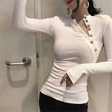 Women's Solid Color Tight-Fitting Knit Top