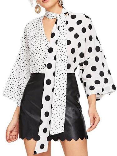 Black And White Wave Dot Fashion Tie With V-Neck Spliced Shirt