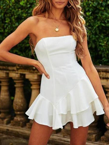 Off-The-Shoulder Halter Ruffled Sexy Mini Dress(Video)