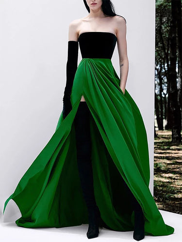 Elegant Temperament Color Matching Long Dress