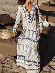 Bohemian V Neck Striped Tassel Long Sleeve Maxi Dresses