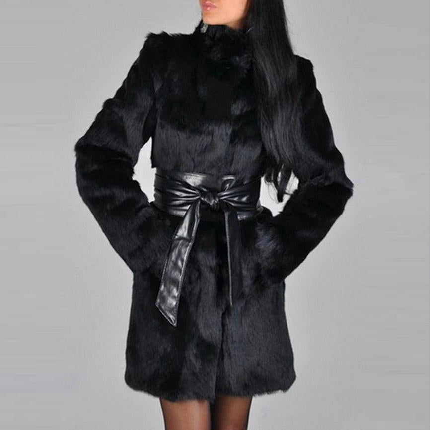 Faux Fur Glamorous High Neck Overcoats