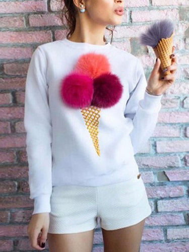 Cute Hair Ball Print Round Neck Long Sleeve Sweatshirt
