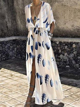2019 Sexyv-Neck Fashion Split Short Sleeves Floral Print Maxi Dress