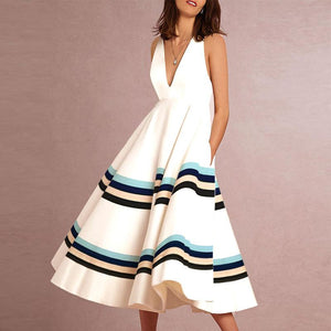 Sexy V-Neck Printed Stripe Sleeveless Formal Skater Dress